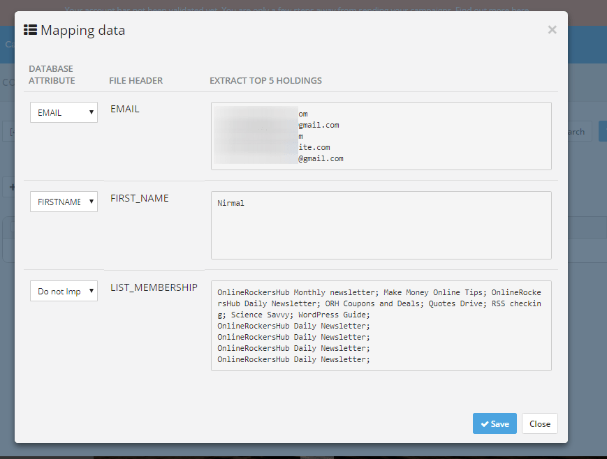 Mapping Email Address from the Import List in SendInBlue