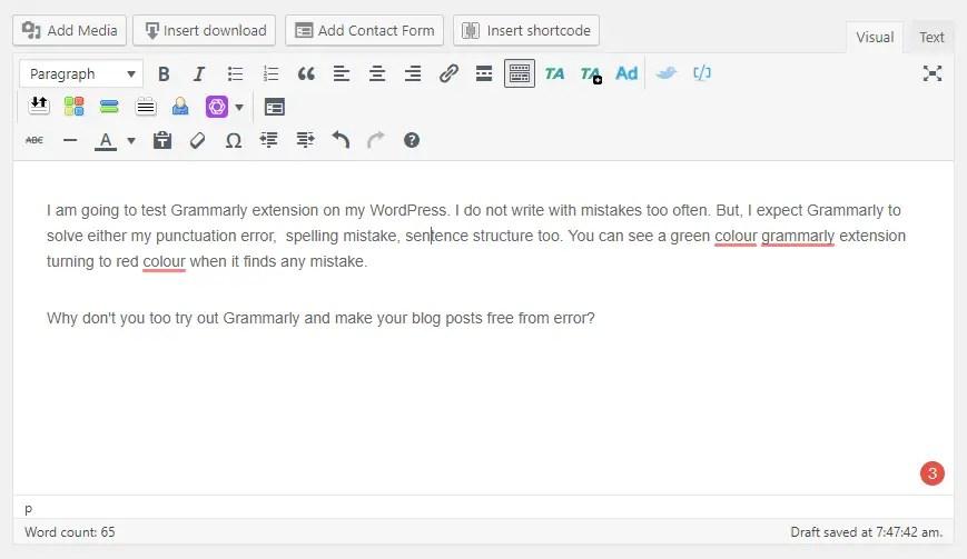 Grammarly extension on WordPress
