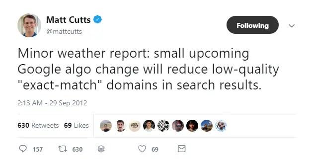 Matt Cutts tweet on Google Algorithms to penalize exact matching domains