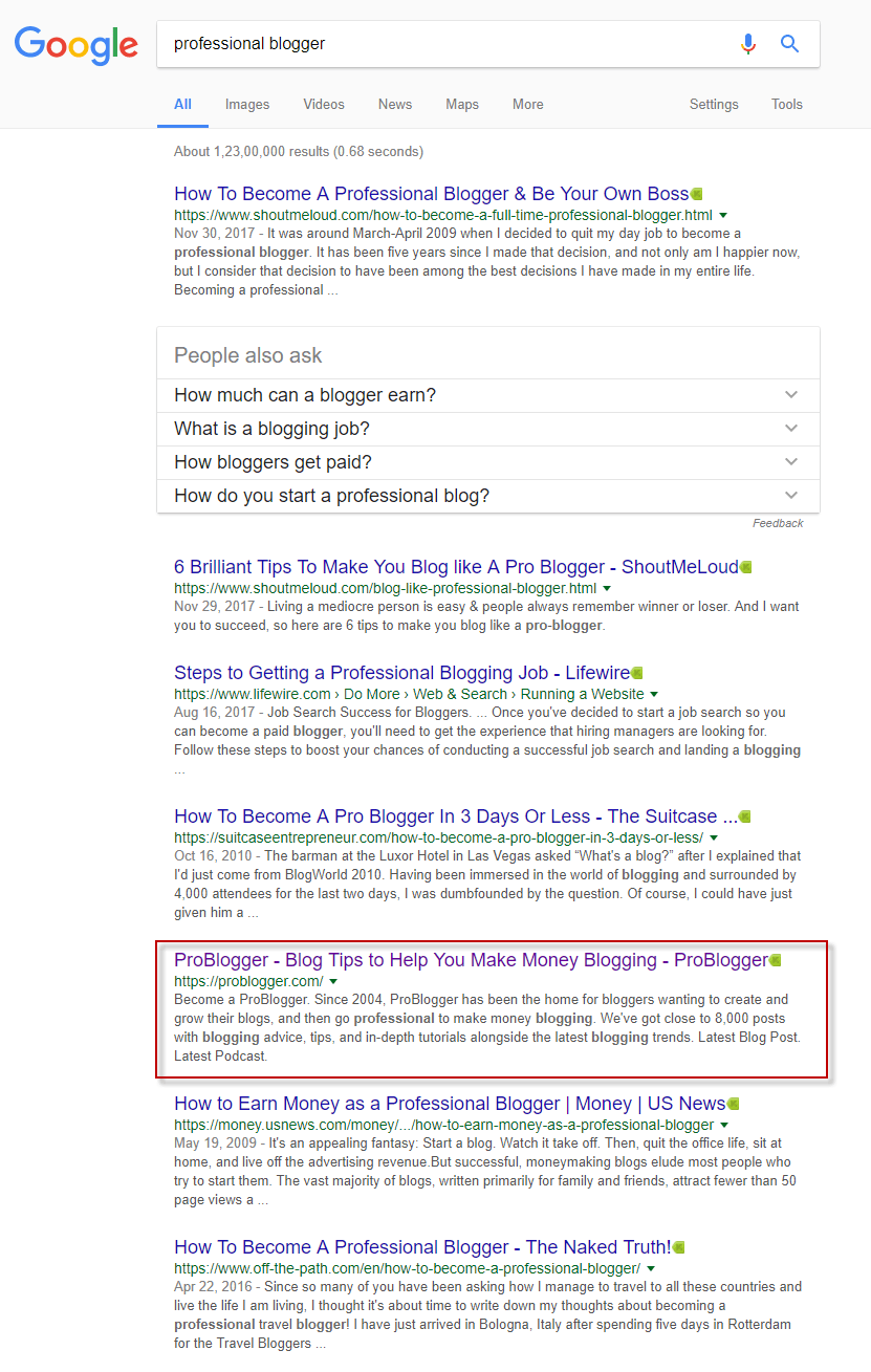 "ProBlogger shown in search results for search ""Professional Blogger"""