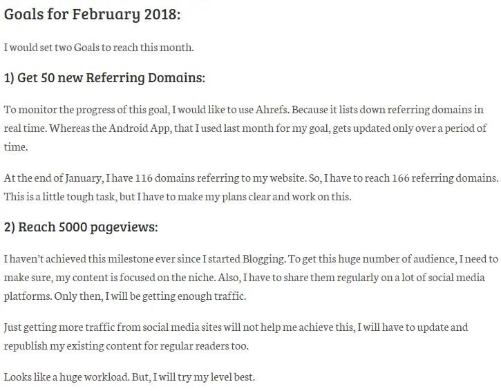 Goals for February 2018