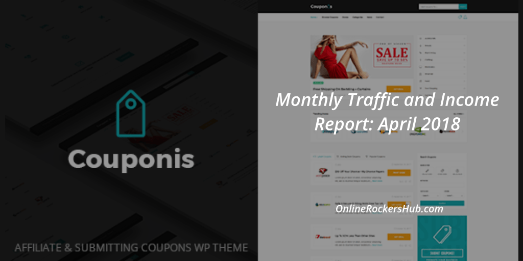 OnlineRockersHub Monthly Traffic and Income Report April 2018