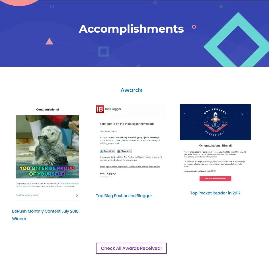 Accomplishments page of OnlineRockersHub