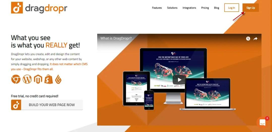 Click Sign up at Drapdropr Homepage