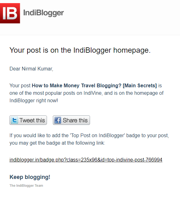 Mail from IndiBlogger on How to Make Money Travel Blogging [Main Secrets]