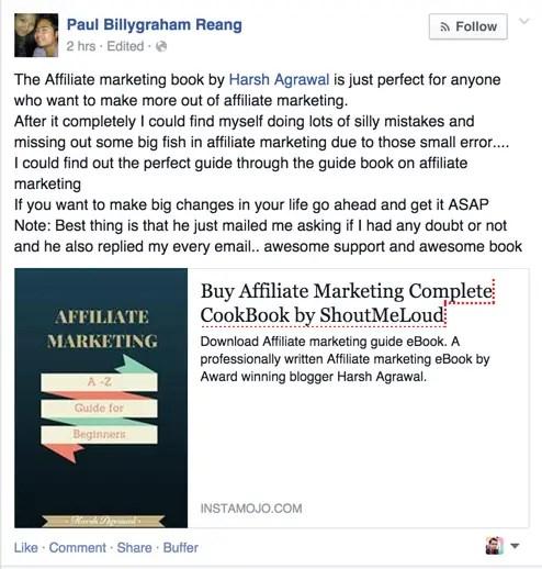 Affiliate Marketing eBook Testimonial by Paul Billygraham Reang