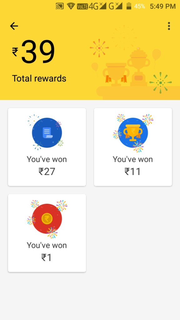 Nirmal Kumar received Google Pay Rewards