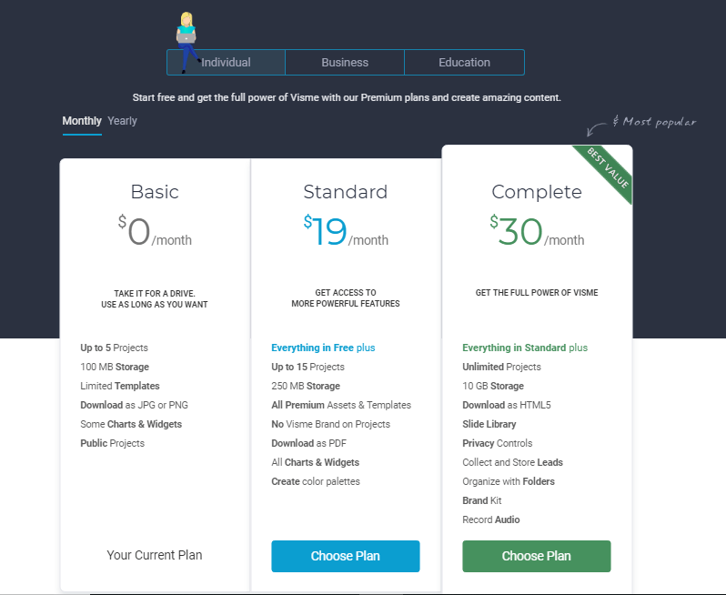 Visme Pricing for Individuals