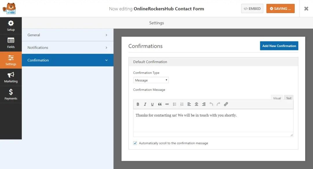 WPForms Confirmation Settings tab