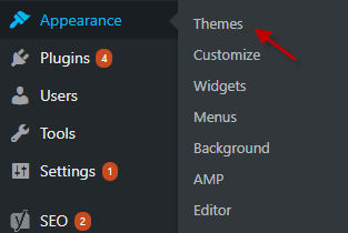 Access Themes under Appearance Menu in WordPress