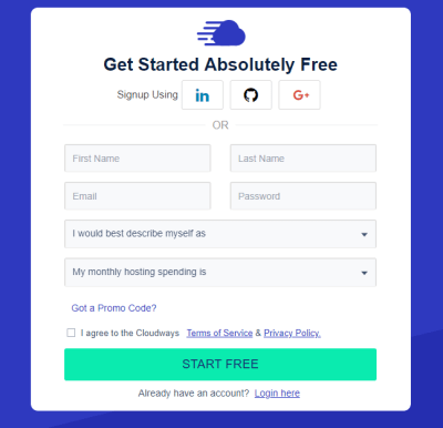 Cloudways Signup page