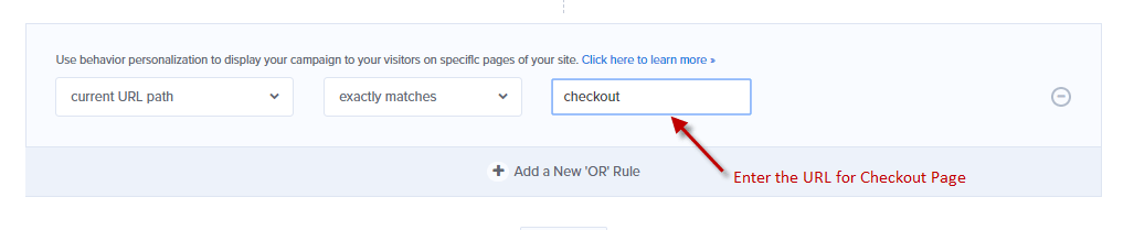 Enter the URL for your Checkout page at OptinMonster
