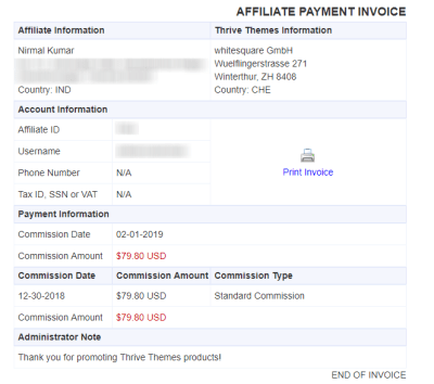 Thrive Themes Affiliate Program Payment Proof