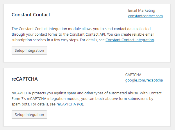 Integrations available in Contact Form 7 Plugin