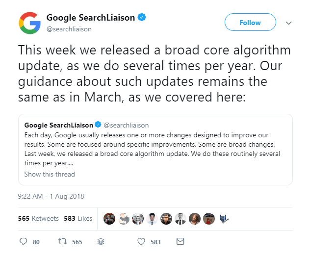 Tweet from Google SearchLiaison on Google Updates