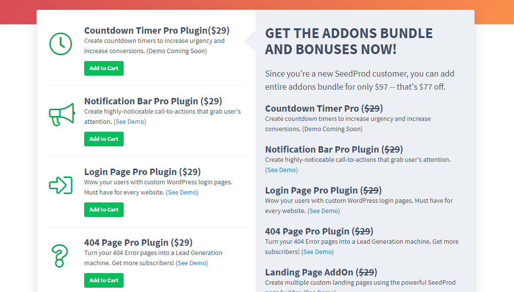 seedprod extra plugins and addons