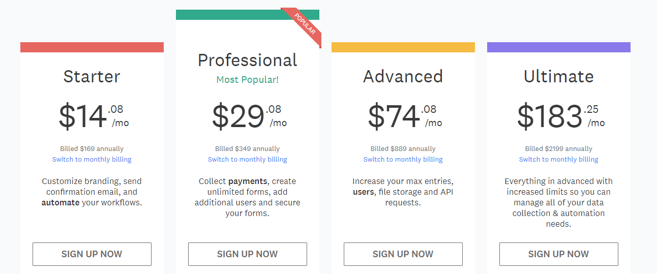 wufoo pricing