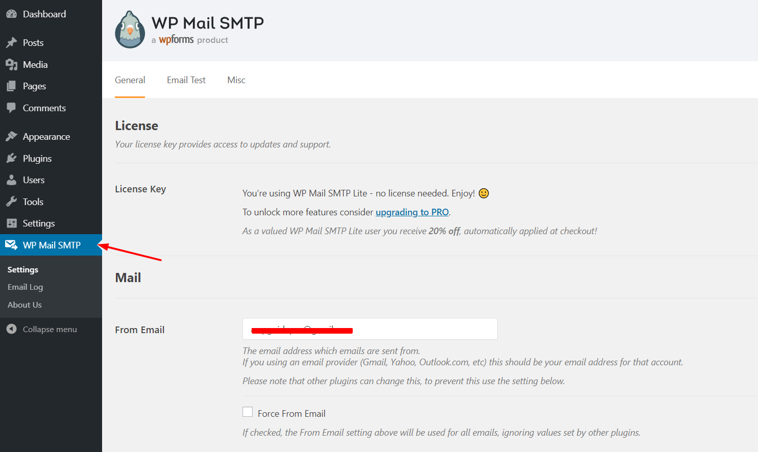 wp mail smtp plugin settings