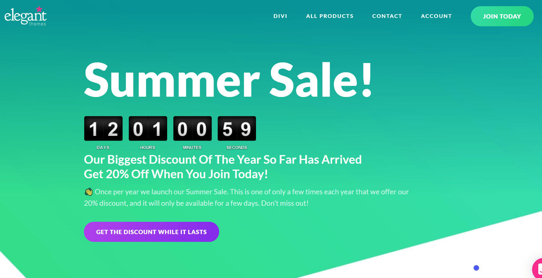 elegant themes summer sale