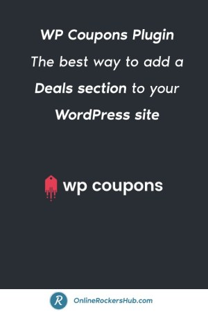 WP Coupons Plugin The best way to add a Deals section to your WordPress site Pinterest Image