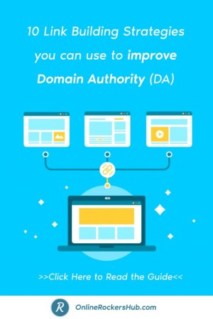 10 Link Building Strategies you can use to improve Domain Authority (DA) - Pinterest Image