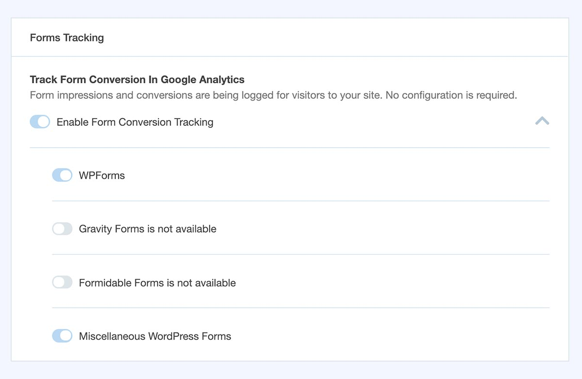 monsterinsights settings for forms