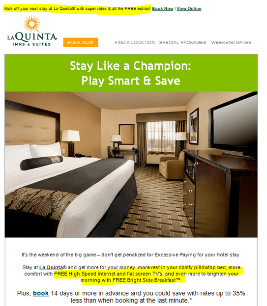 email showing hotel room