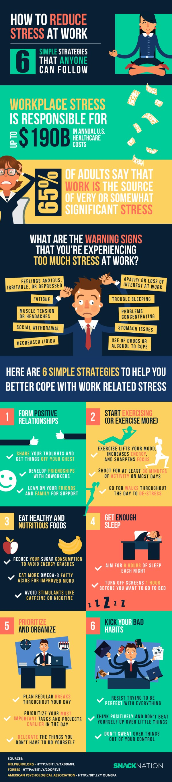 How to Reduce Stress at Work: 6 Simple Strategies Anyone Can Follow - how to reduce stress at work infographic