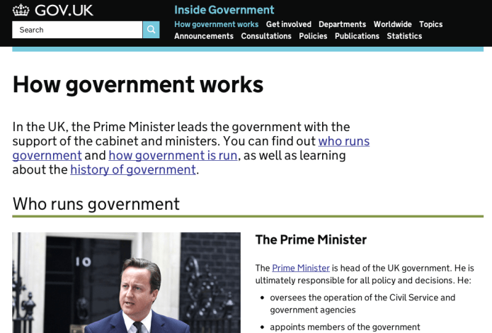 Simple impersonal language on Number 10 website