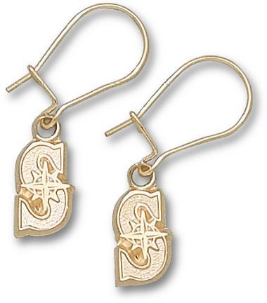 """Seattle Mariners 3/8"""" """"S"""" Dangle Earrings - 10KT Gold Jewelry"""