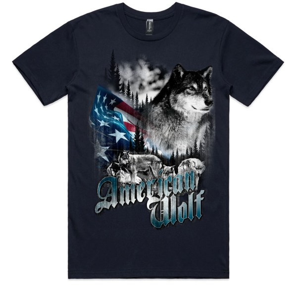 American Wolf Men Navy T Shirts