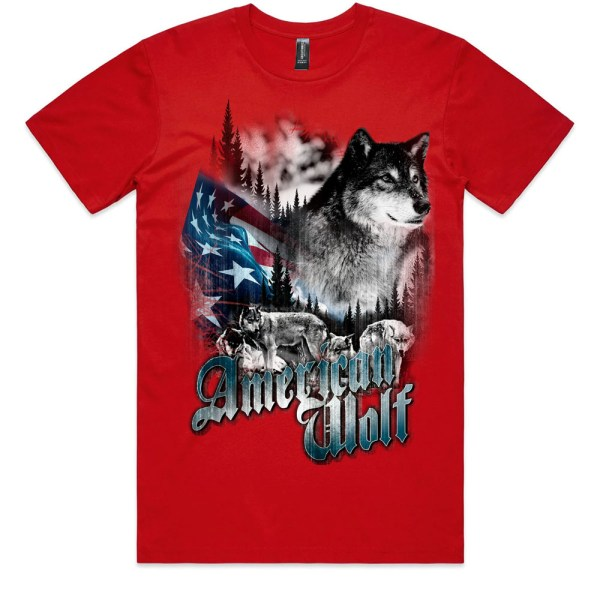 American Wolf Men Red T Shirts