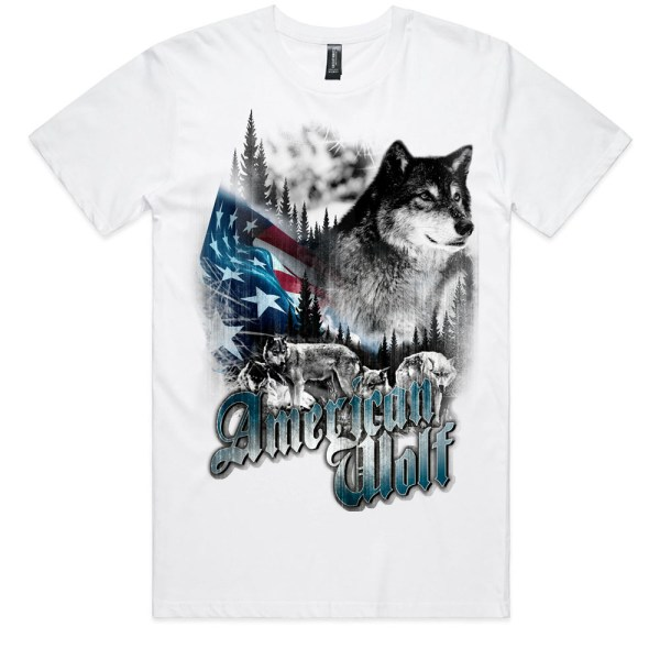 American Wolf Men White T Shirts