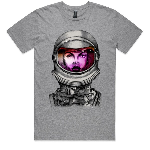 Astronaut Lady Space Dreaming Men Grey Marle T Shirts
