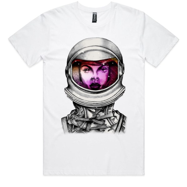 Astronaut Lady Space Dreaming Men White T Shirts