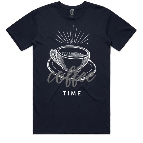 Coffee Time Men Navy T Shirts