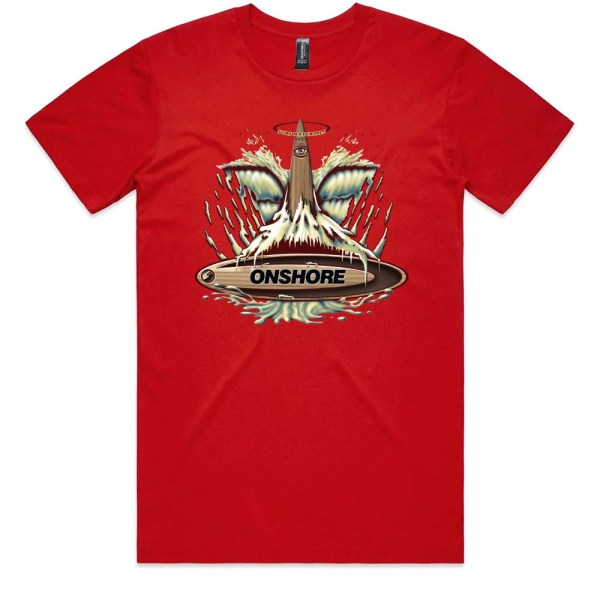 Onshore Surf Whale Tail Men T Shirt Red