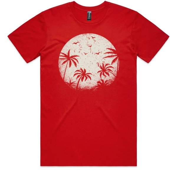 Palm Trees in the Moonlight Men Red T Shirts