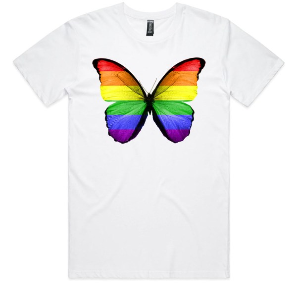 Rainbow Butterfly Men White T Shirts
