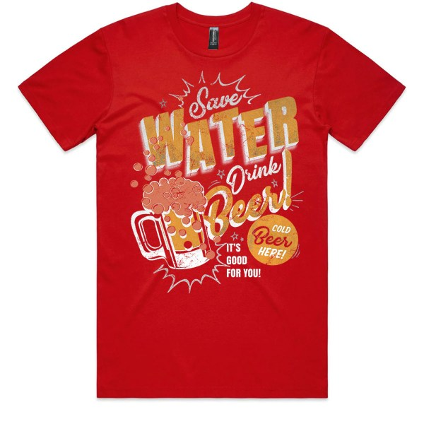 Save Water Drink Beer Men Red T Shirts