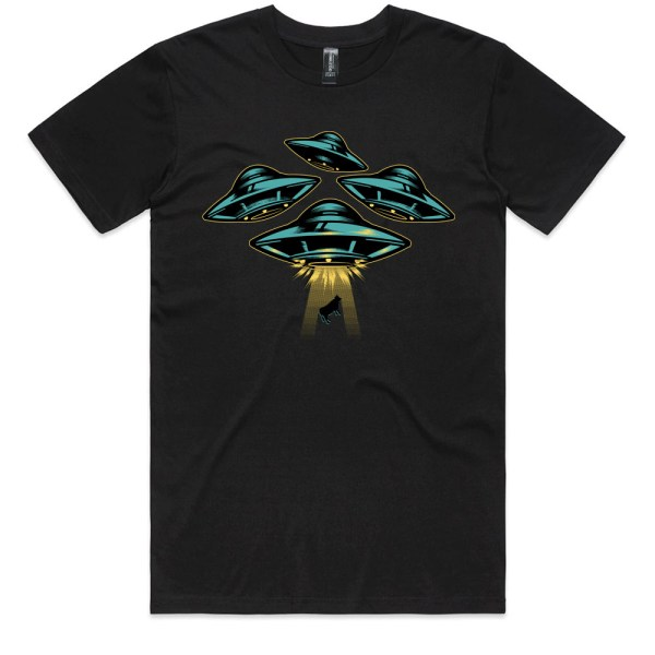 Space Ship and Cow Men Black T Shirts