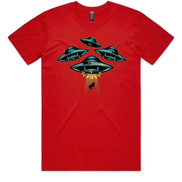 Space Ship and Cow Men Red T Shirts