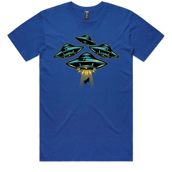 Space Ship and Cow Men Royal T Shirts