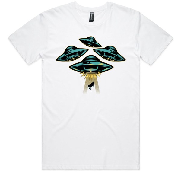 Space Ship and Cow Men White T Shirts