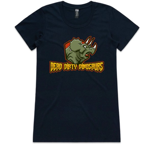 Dead Dirty Dinosaurs 002 Ladies Navy T Shirts