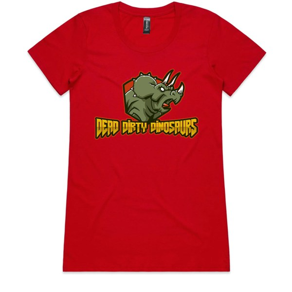 Dead Dirty Dinosaurs 002 Ladies Red T Shirts