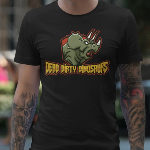 Dead Dirty Dinosaurs Men T Shirts Triceratops