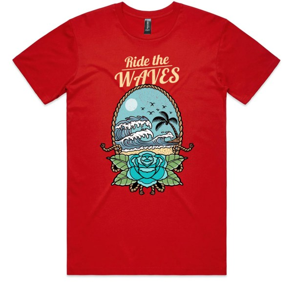 Ride the Waves Men Red T Shirts
