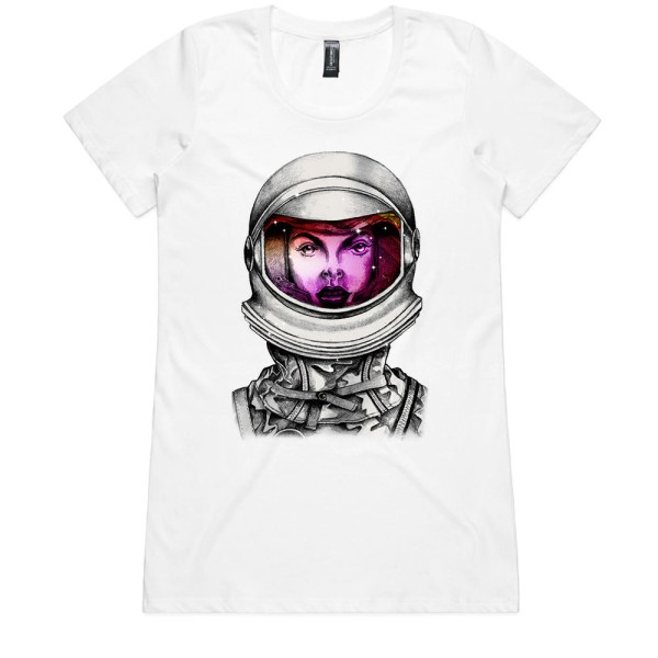 Astronaut Lady Space Dreaming Ladies WhiteT Shirt