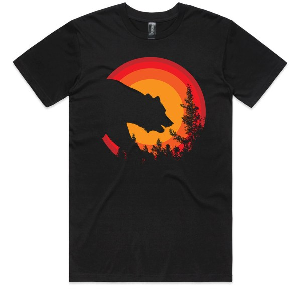 Bear in the Forest Men Black T Shirts